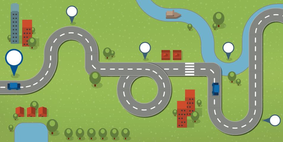 winding roads with milestones illustration
