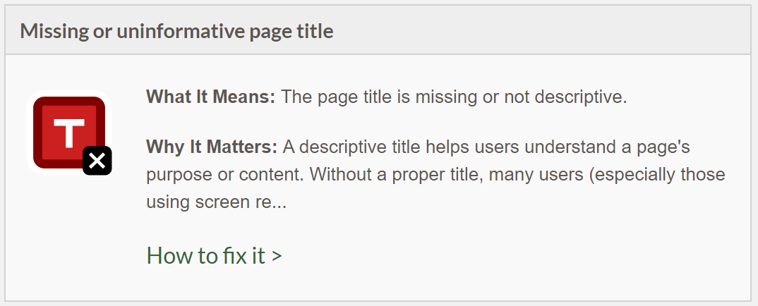 Missing or uninformative page title documentation