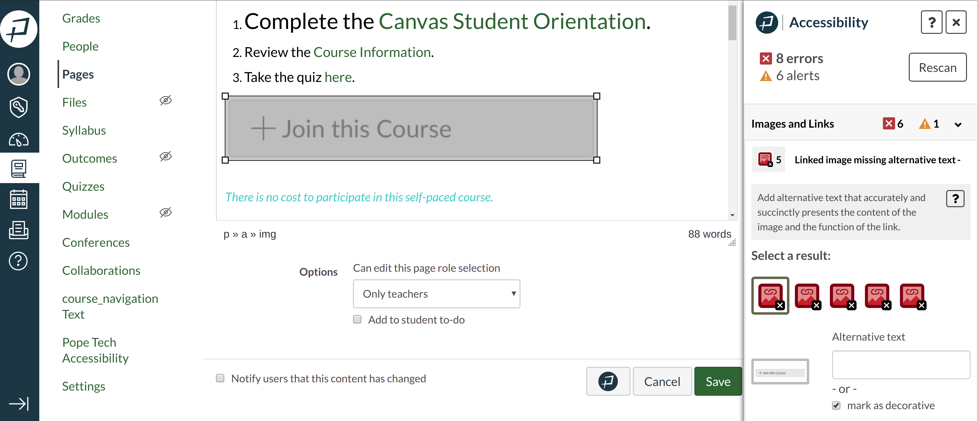 Instructor Accessibility Guide open in Canvas