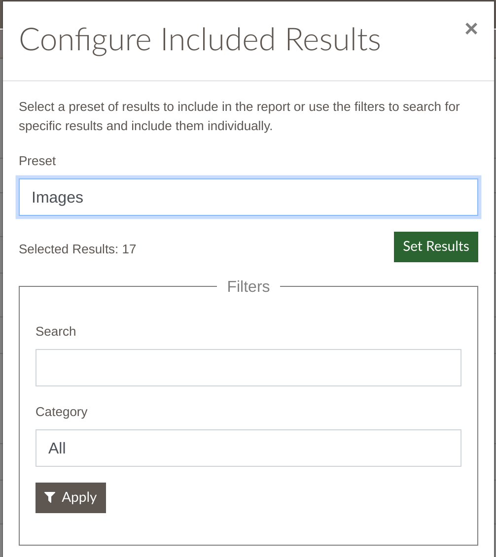 Configure Included results showing images preset and filters