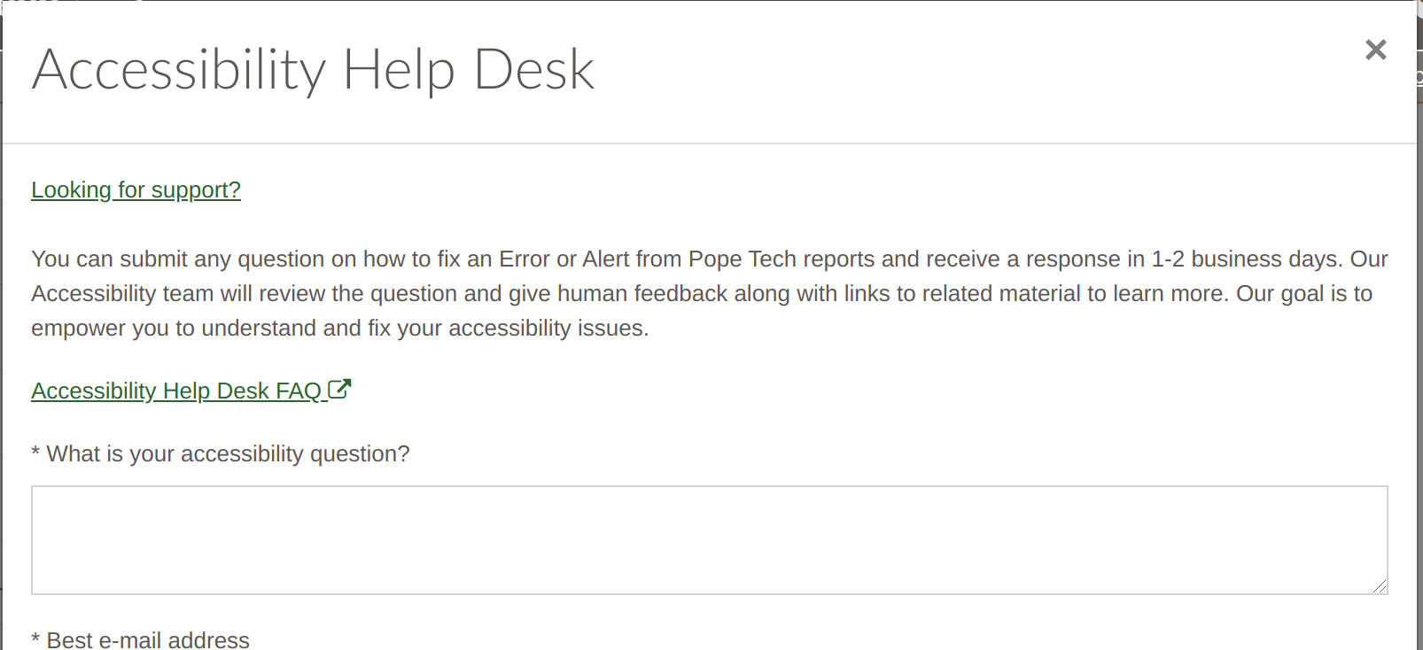 Accessibility Help desk form with instructions for asking for accessibility help