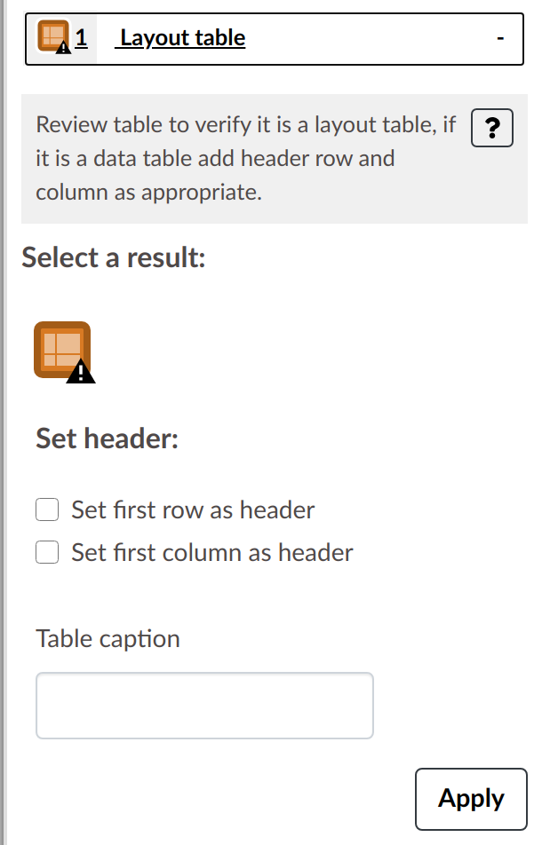 Layout table result with field to add table caption