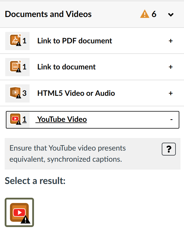Documents and Video section showing YouTube video present Alert