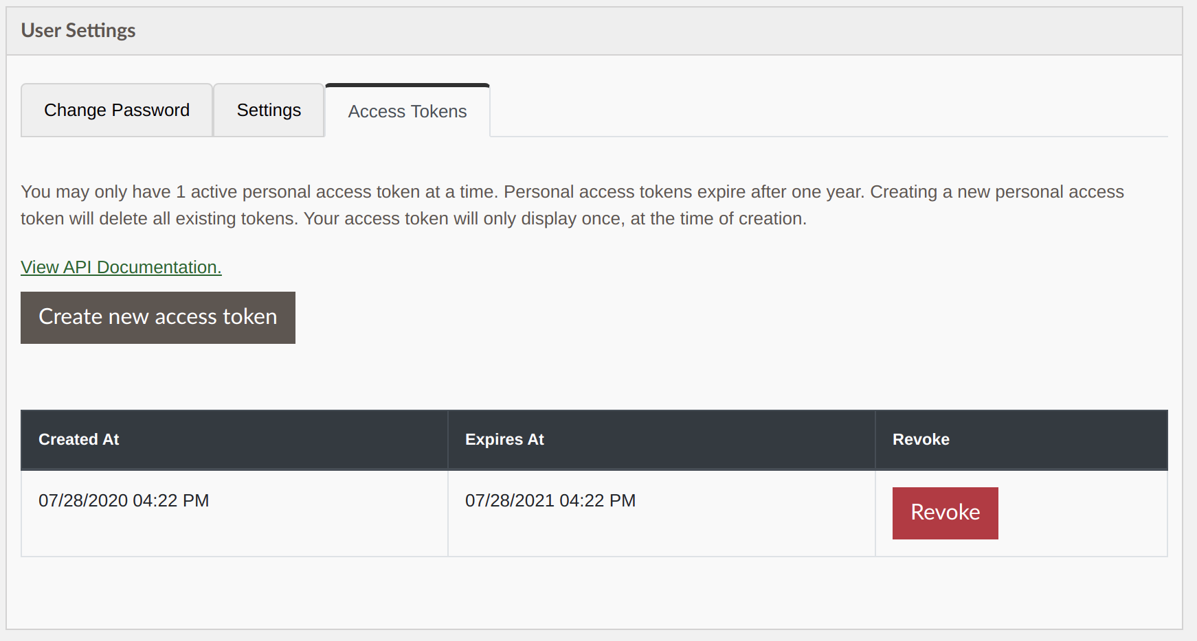 Access tokens tab in user settings with access token created