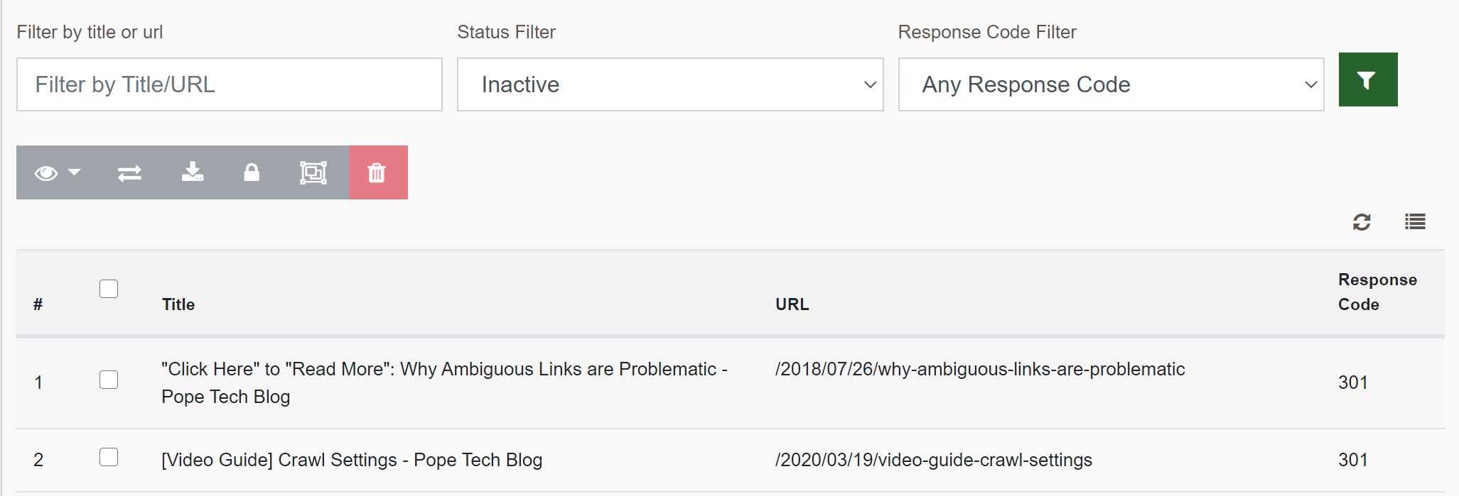 Pages widget with 2 inactive pages displaying the url and the response code