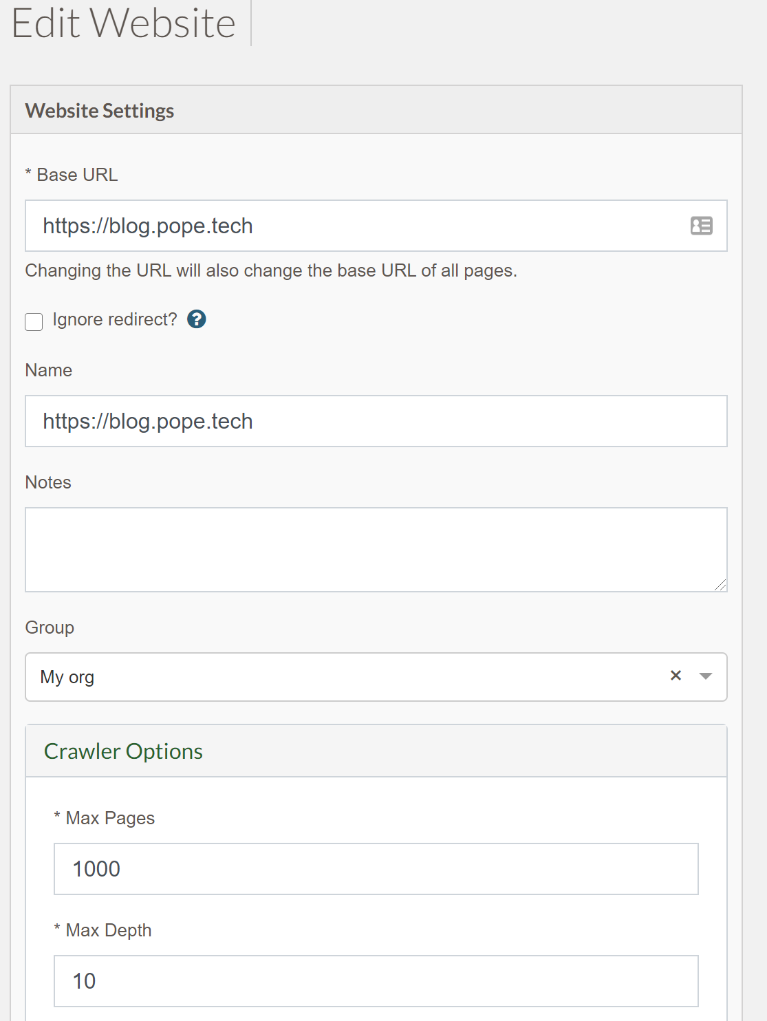 screenshot of editing a website with max pages set at 1,000
