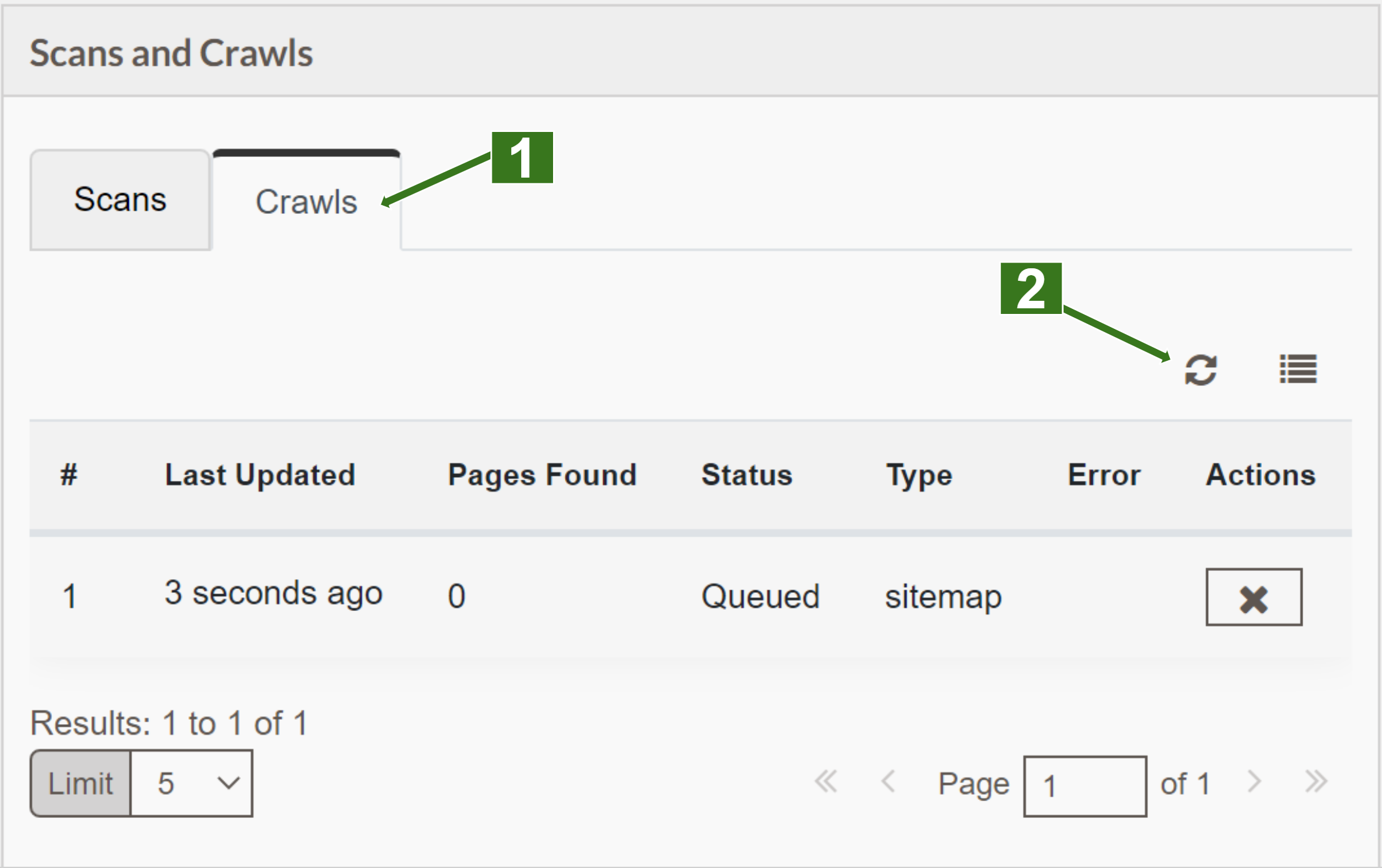 screenshot of scans and crawls widget with number highlighting the crawls tab and the table refresh