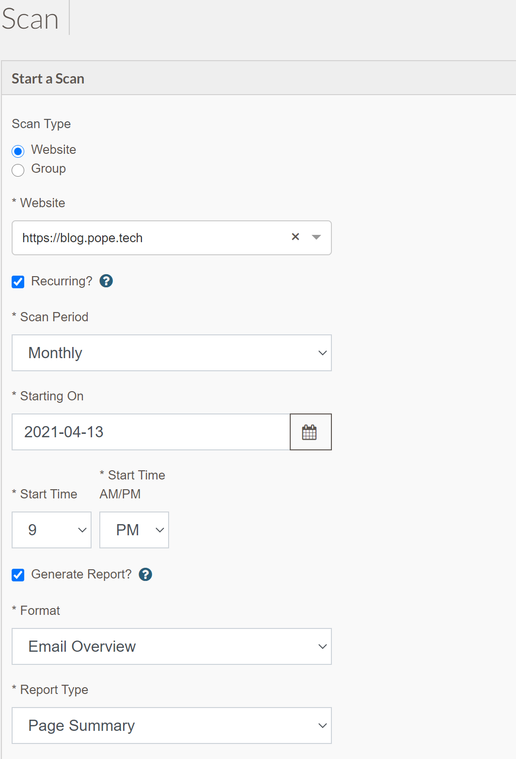 screenshot of start a scan widget with recurring checkbox checked