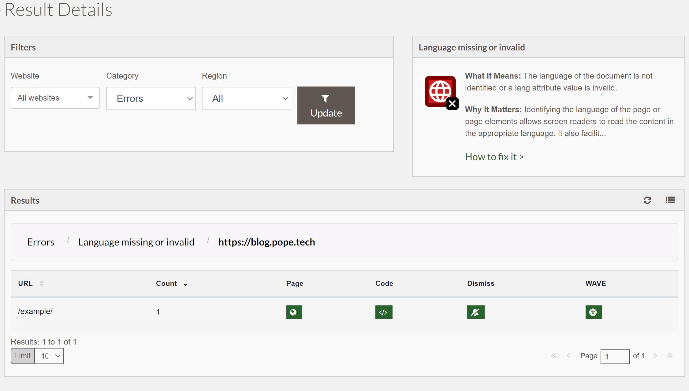 screenshot of result details view including documentation of result