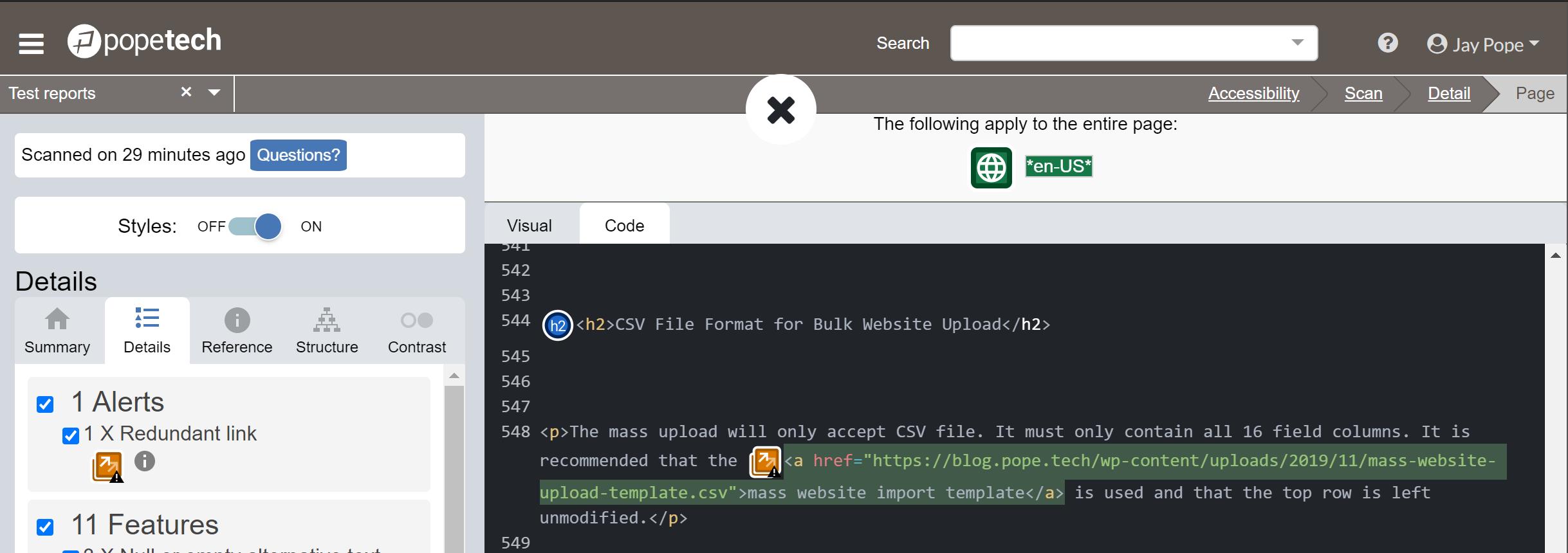 screenshot of code view